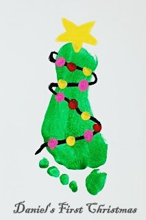 Baby foot print on DIY Christmas Card