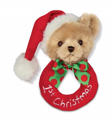 Bearington Baby's 1st Christmas Plush Soft Ring Rattle